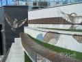 Мурал «Воробьи» на ступенях