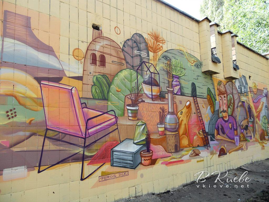 Стрит-арт на стенах бойлерной. Туполева