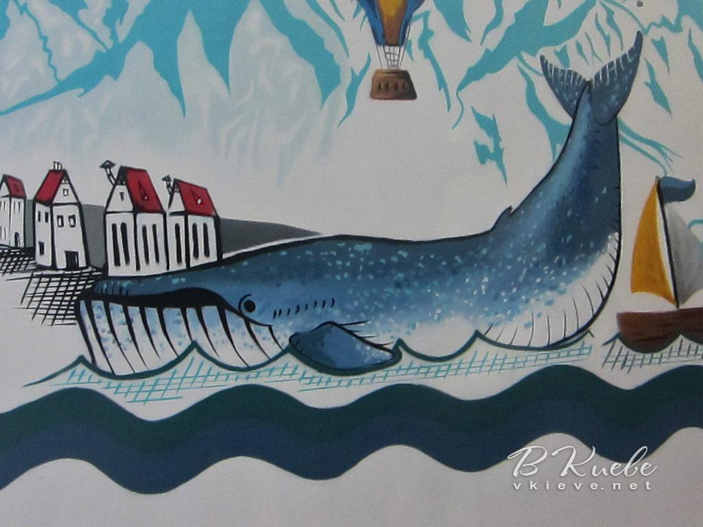 Стрит-арт с китом на Котельникова