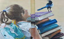 Девочка с книгами на проспекте Академика Королева