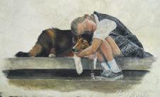 Девочка с собакой в Михайловском переулке