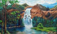 Горный пейзаж с водопадом на Златоустовской