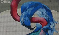 Мурал с фламинго на бульваре Леси Украинки