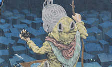 Мурал с лабиринтом на Дмитриевской