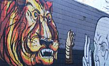Стрит-арт с тигром на улице Гончара