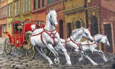 Тройка белых лошадей на Прорезной